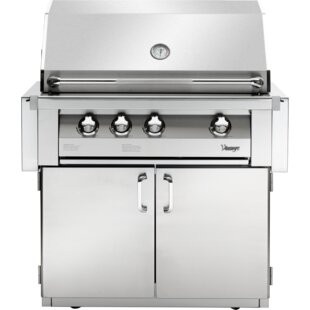 Vintage 36-In. Built-In Natural Gas Grill In Stainless With 2-Door Cart By Vintage