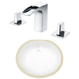 Savings Ceramic Oval Undermount Bathroom Sink with Faucet and Overflow By American Imaginations