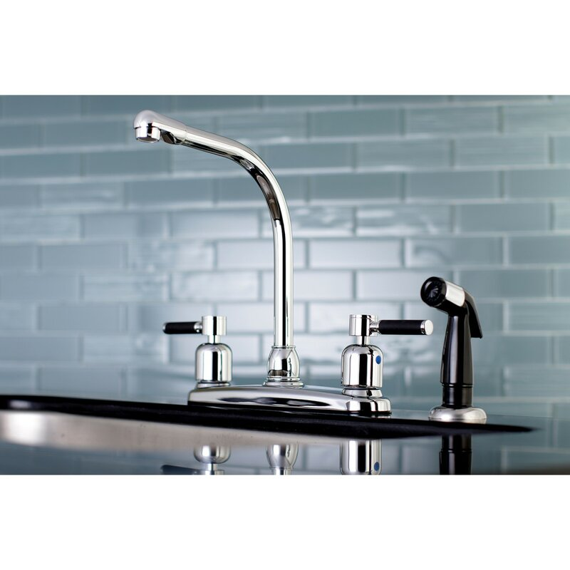 Kingston Brass Kaiser Hot Cold Water Dispenser Double Handle Kitchen Faucet With Side Spray Wayfair
