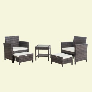 Tyne 5 Piece Rattan Seating Group with Cushions