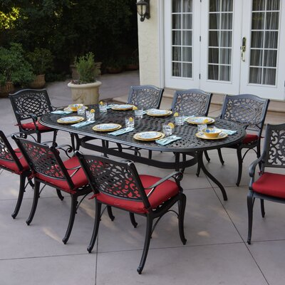 Appleby 9 Piece Dining Set With Cushions by Astoria Grand Amazing