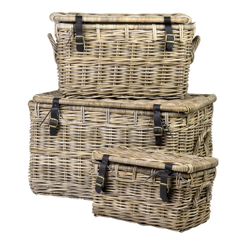 Gorgeous, rustic, and so functional for all of your storage needs - Reynosa 3 Piece Rattan Basket Set looks beautiful even as it serves to hide away essentials! #frenchcountry #baskets #storage