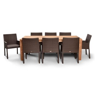 Glen Ellyn 9 Piece Teak Dining Set with Sunbrella Cushions by Everly Quinn