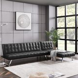 Odonoghue 100'' Faux Leather Reversible Sleeper Sofa & Chaise Sectional by Ivy Bronx