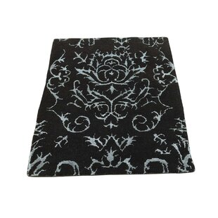 Great Price One-of-a-Kind Krehbiel Modern Damask Hand-Knotted Wool Black Area Rug ByHouse of Hampton