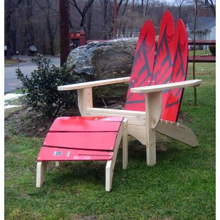 Water Ski Solid Wood Adirondack Chair with Ottoman