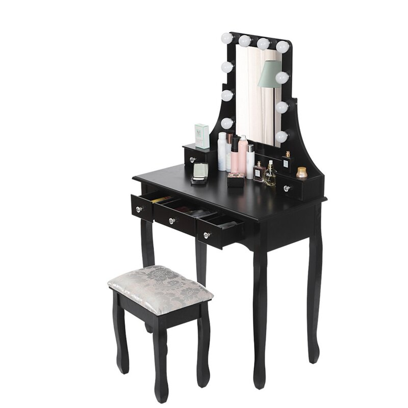 Rosdorf Park Led Vanity Set With 10 Dimmable Light Bulbs Dressing Table Vanity Makeup Table Wayfair