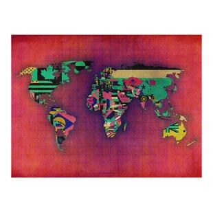 Avant Garde World Map Wallpaper Mural