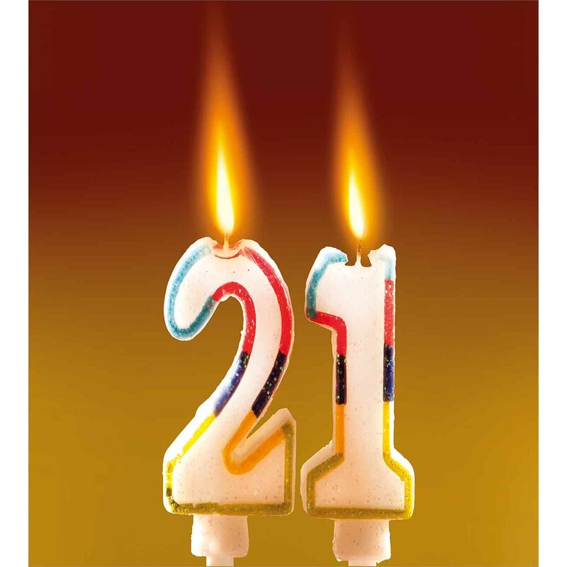 21st Birthday Decorations Rainbow Colored Candles On Party Cake Abstract Marigold Image Duvet Cover Set