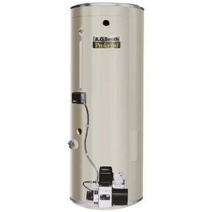 A.O. Smith COF-385A Commercial Tank Type Water Heater Oil Fired 75 Gal Lime Tamer 385,000 BTU Input