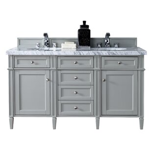 Deleon 60 Double Urban Gray Marble Top Bathroom Vanity Set by Darby Home Co
