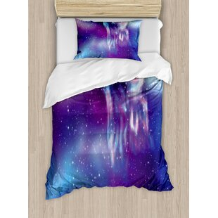 Fantasy Psychedelic Northern Starry Sky with Spirit of A Wolf Aurora Borealis Display Duvet Set by Ambesonne