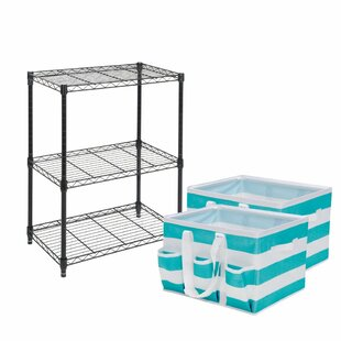 Tidy Living 3 Tier Wire Storage Rack with Utility Tote