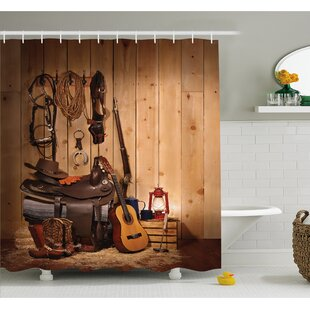 Buying Western American Texas Style Country Music Guitar Cowboy Boots Folk Culture Shower Curtain Set ByAmbesonne