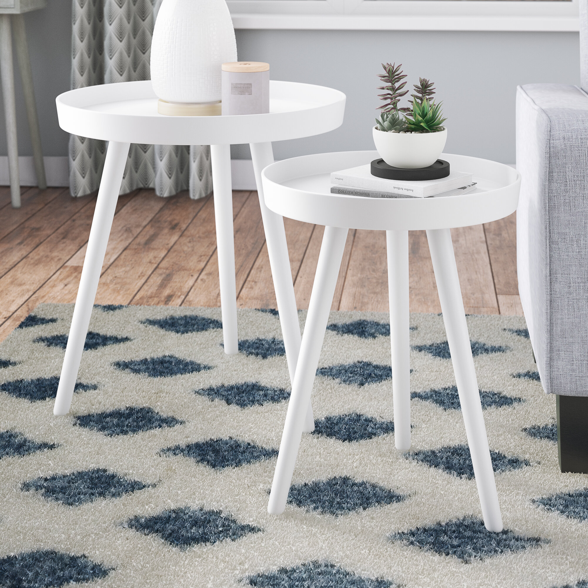SogesPower Nesting Coffee Tables Sets of 2 End Table Set Side Tables Nightstand Stacking Side Table Set for Living Room Nesting Table for Bedroom Sofa Table Set White SPBSB-009-CA