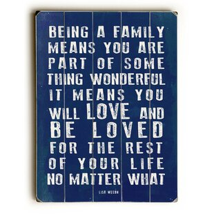 Being A Family Textual Wall Art Plaque