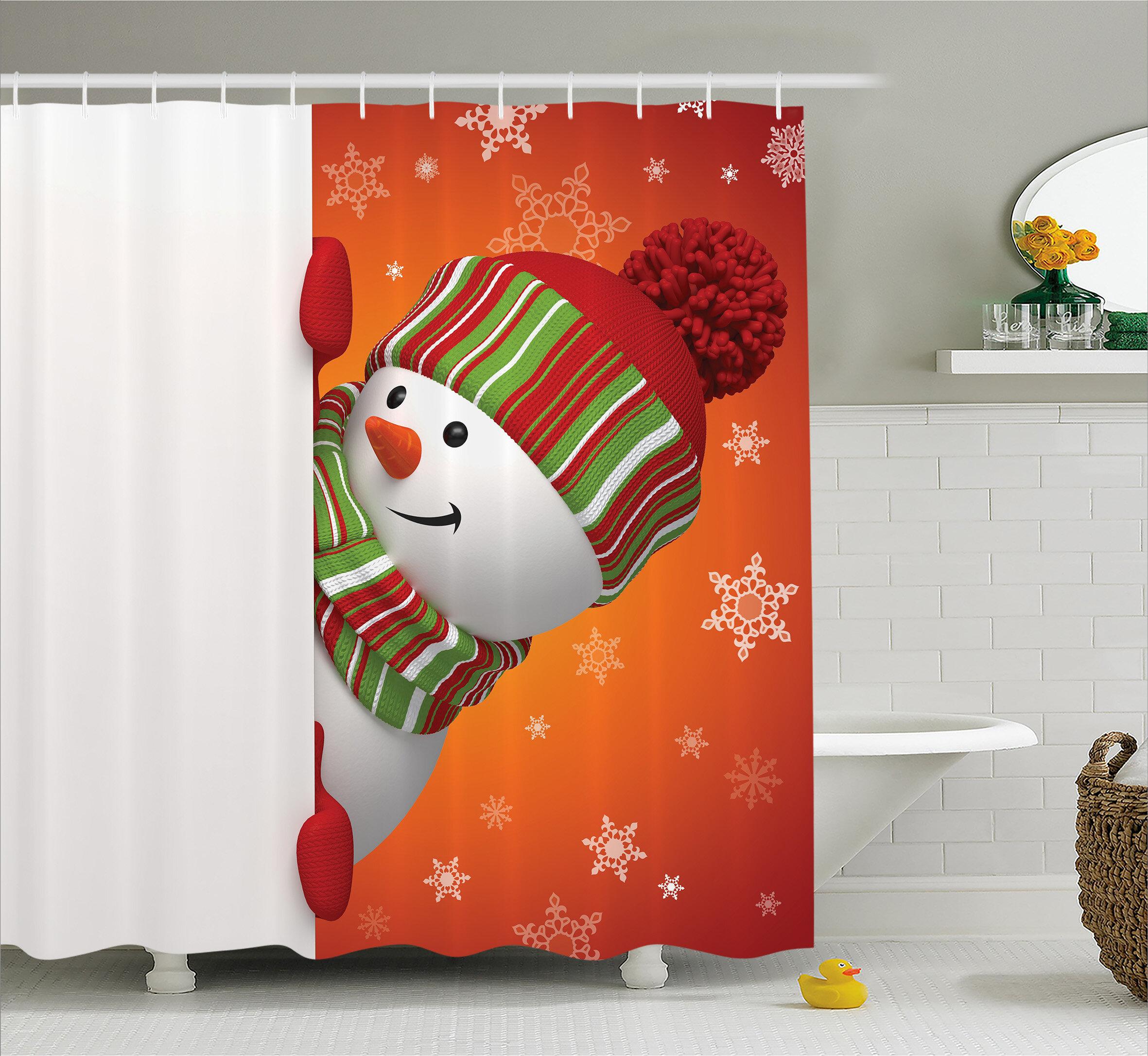The Holiday Aisle Christmas Funny Snowman Santa Shower Curtain