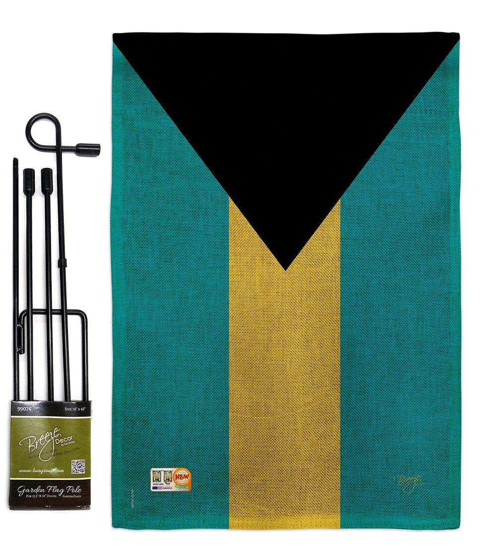 Breeze Decor Bahamas The World Nationality Impressions 2 Sided Burlap 19 X 13 In Flag Set Wayfair