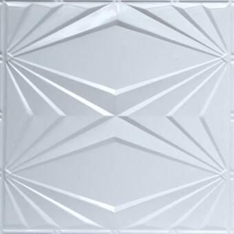 Shanko Pre Painted 23 75 X 23 75 Metal Tile In White