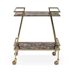 Nakasa Sable Agate Stainless Steel Bar Cart