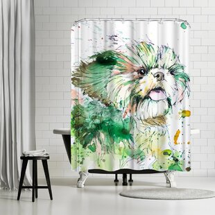 Allison Gray Shih Tzu Single Shower Curtain by East Urban Home Best