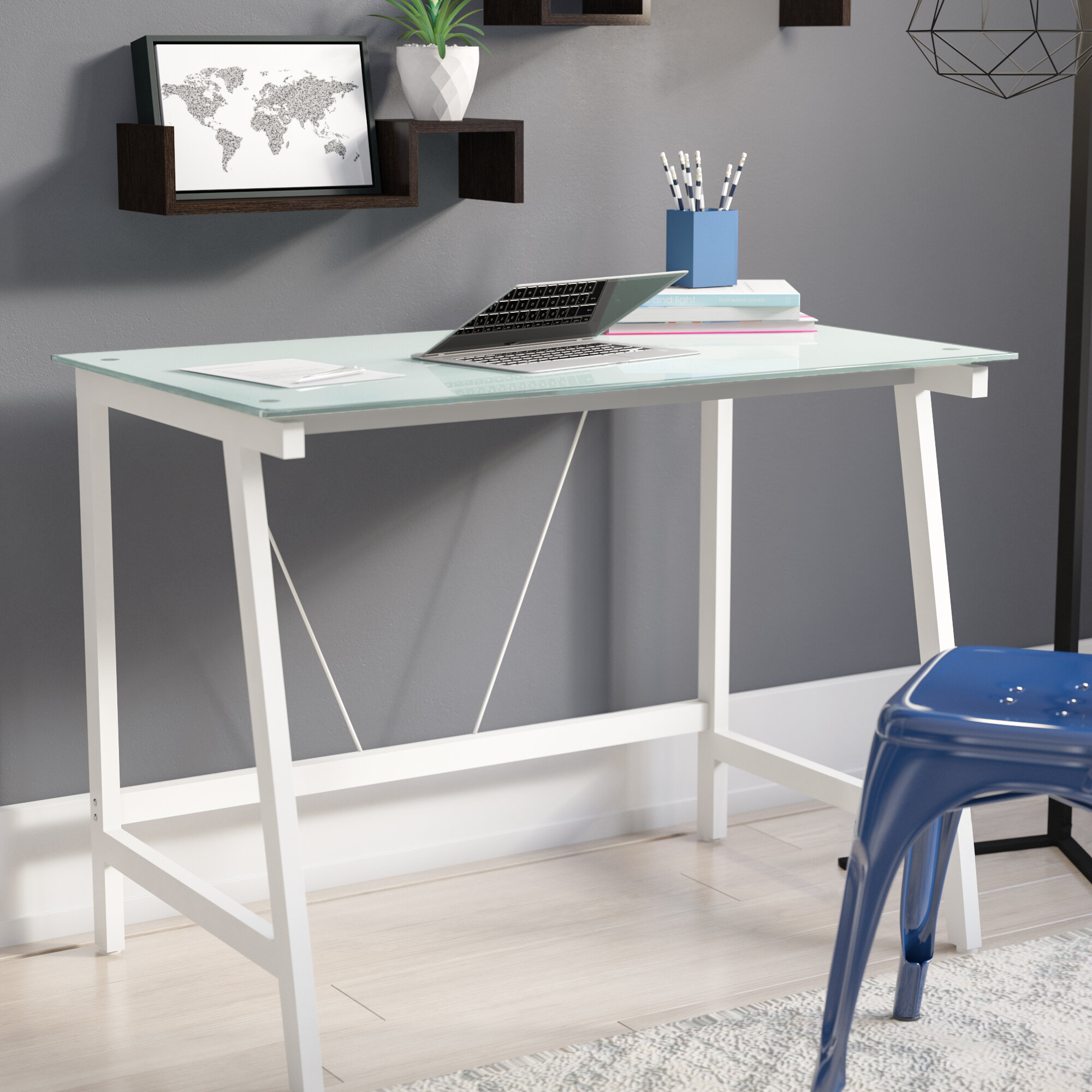 Merveilleux Zipcode Design Chane Contemporary Glass Writing Desk U0026 Reviews | Wayfair