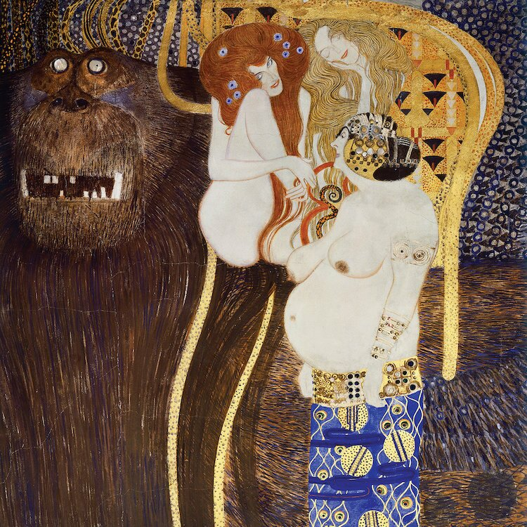 Vault W Artwork Detail Of The Hostile Forces The Head Of Typhoeus And Unchastity Voluptuousness Excess Beethoven Frieze 1902 By Gustav Klimt Print On Canvas Wayfair