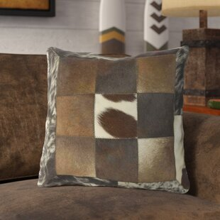 Wadkins Captivating Cow Hide Leather/Suede Throw Pillow