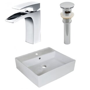 Best Price Above Counter Ceramic Square Undermount Bathroom Sink with Faucet and Overflow ByRoyal Purple Bath Kitchen