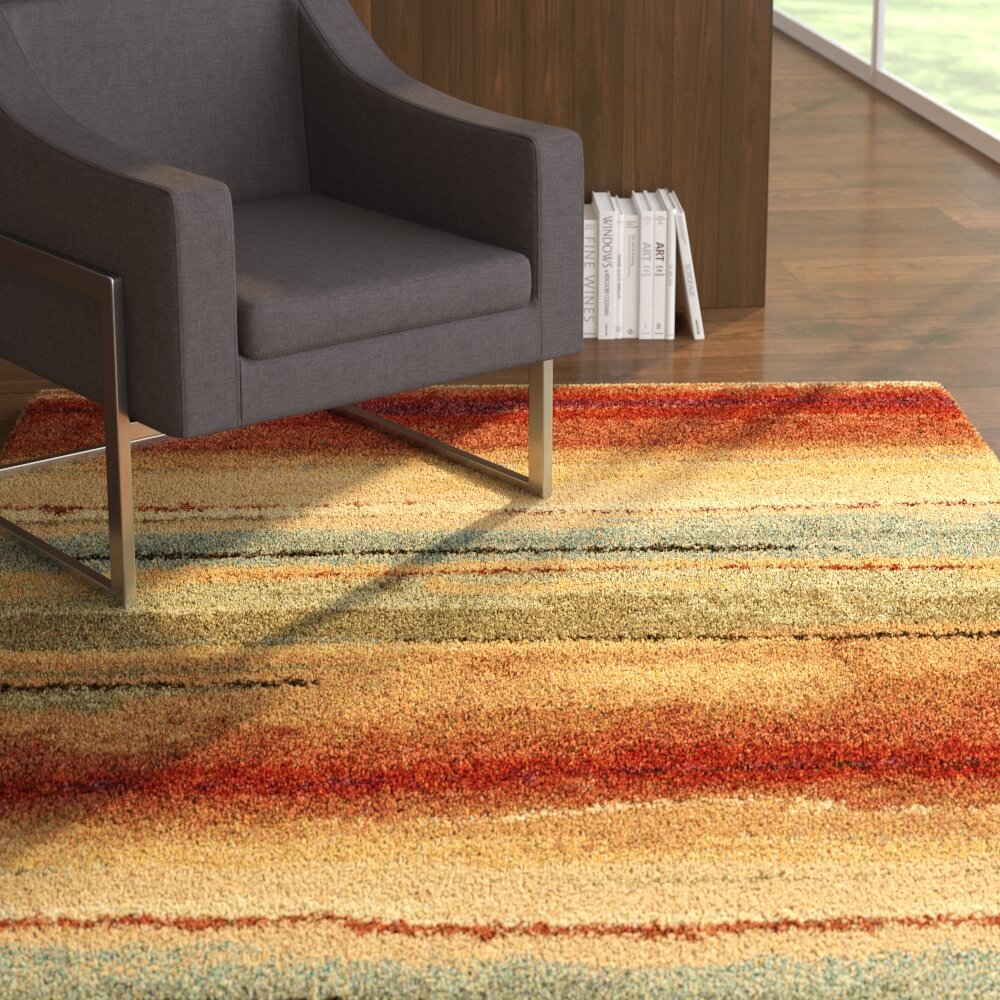 Forrester Capizzi Abstract Burgundy Cream Dark Brown Area Rug