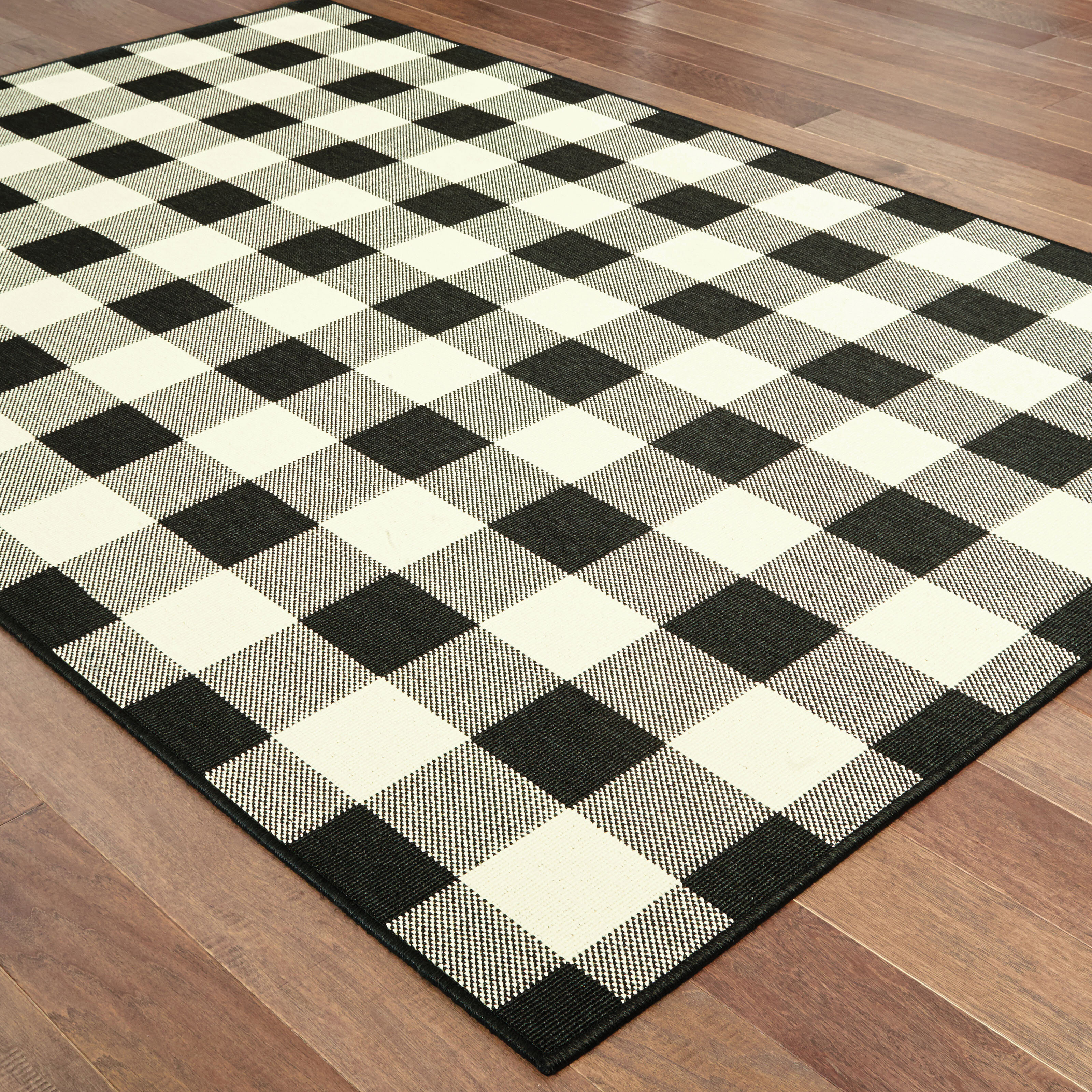 Wiest Gingham Check Black Ivory Indoor Outdoor Area Rug Reviews