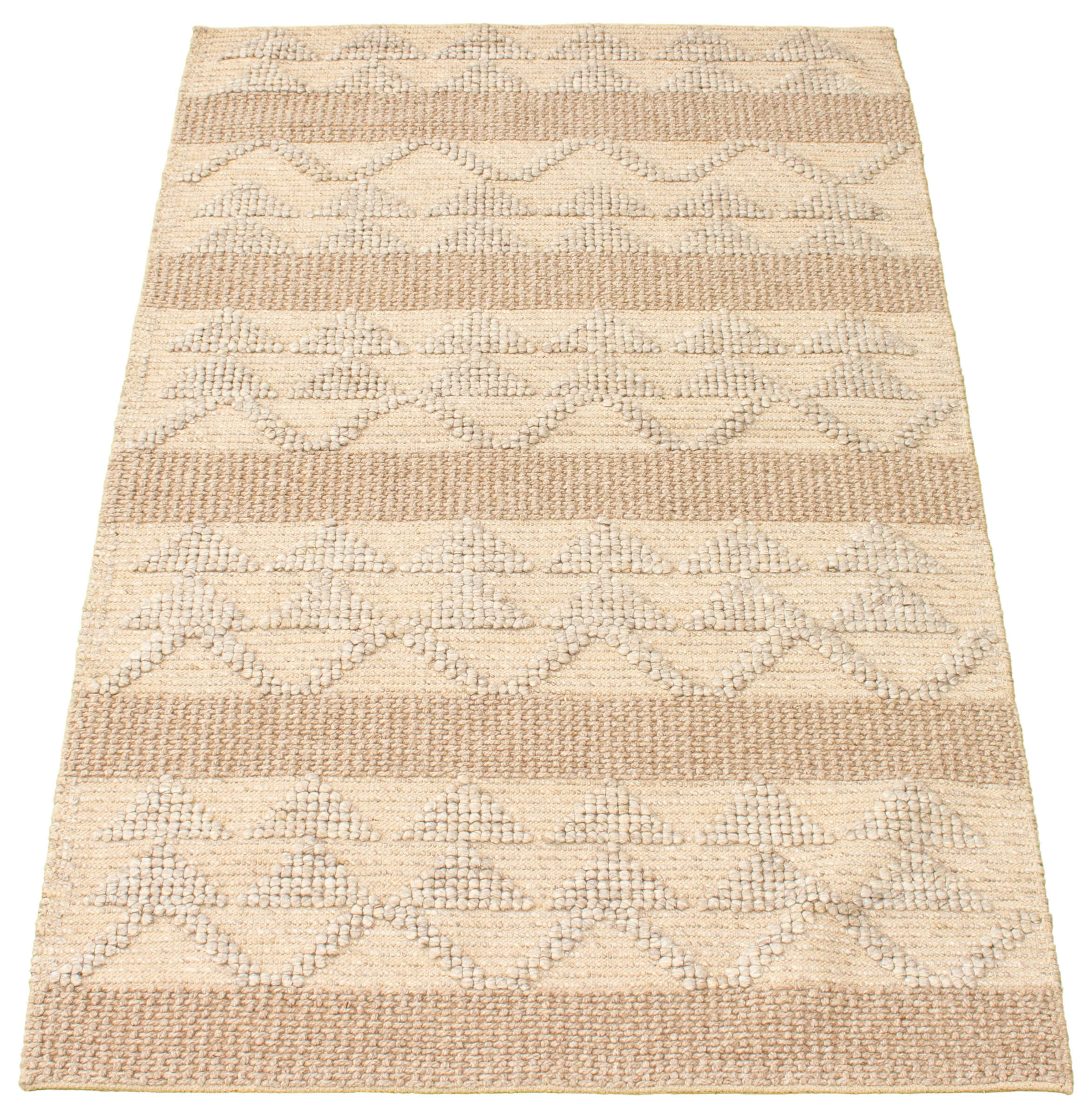 Foundry Select Linhart Geometric Hand Braided Wool Tan Gray Area Rug Wayfair