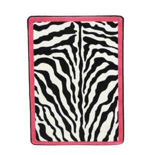 Braunstein Zebra Glam Pink Passion Black/White Area Rug ByWorld Menagerie