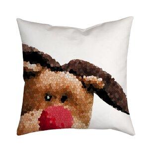 Holiday Treasures Peek A Boo Rudolph Reindeer Throw Pillow