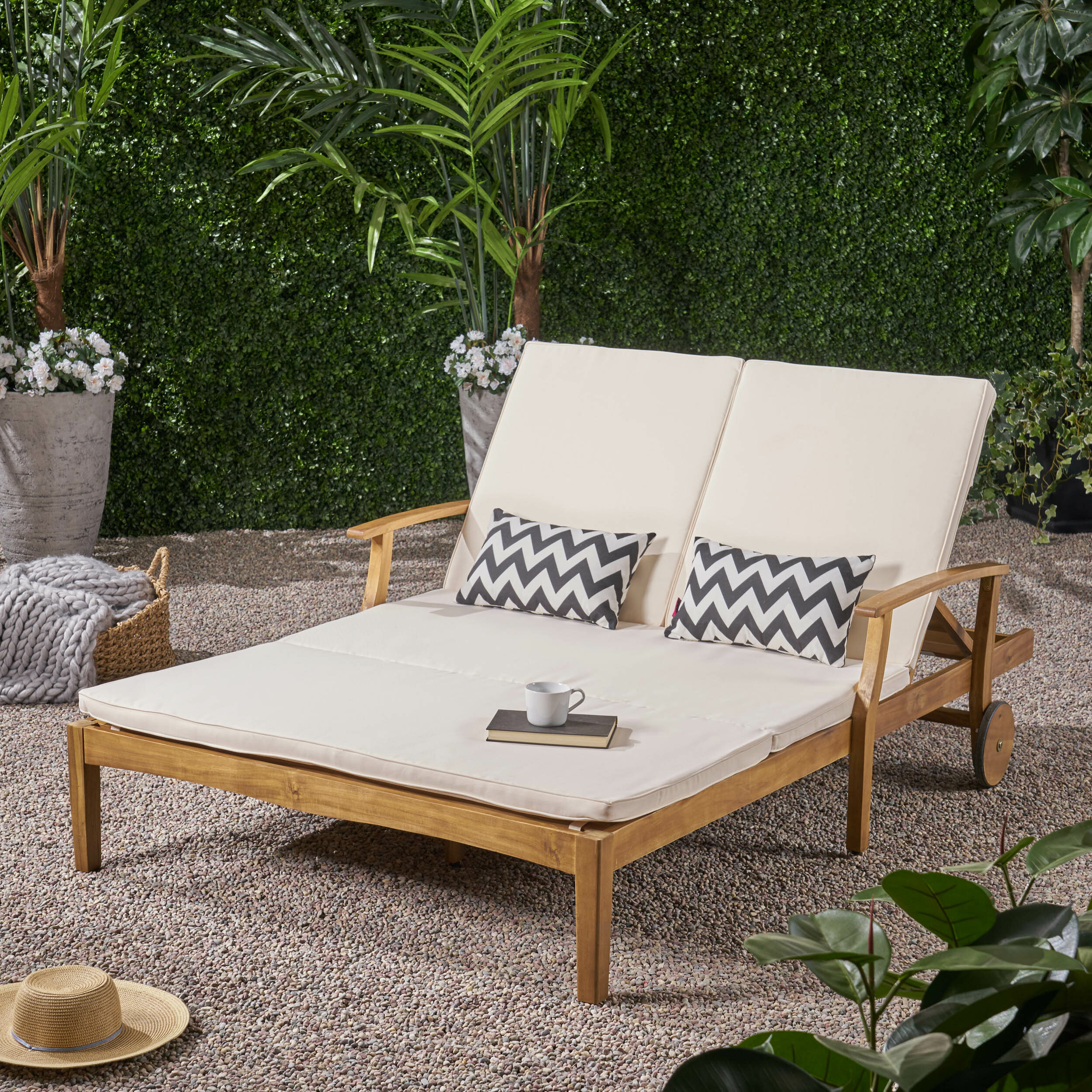Picture of: Perry Double Reclining Teak Chaise Lounge With Cushion Reviews Birch Lane