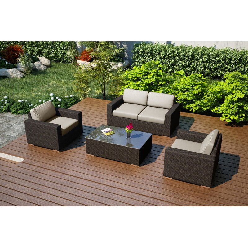 Miraculous Hodge 4 Piece Teak Sofa Set With Sunbrella Cushions Download Free Architecture Designs Sospemadebymaigaardcom