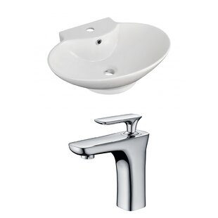 Compare Ceramic 23 Wall-Mount Bathroom Sink with Faucet and Overflow ByRoyal Purple Bath Kitchen