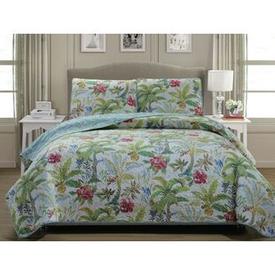 Matisse Palm 100% Cotton 3 Piece Reversible Quilt Set