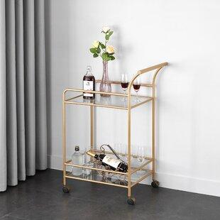 Wrought Studio Kara Glass and Metal Bar Cart