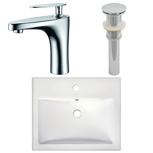 Charming Semi Recessed Rectangular Vessel Bathroom Sink With Faucet