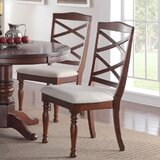 Sheraton Upholstered Cross Back Side chair in Cherry (Set of 2) by A&J Homes Studio