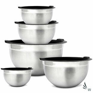 Meal Prep 5 Piece Stainless Steel Mixing Bowl Set