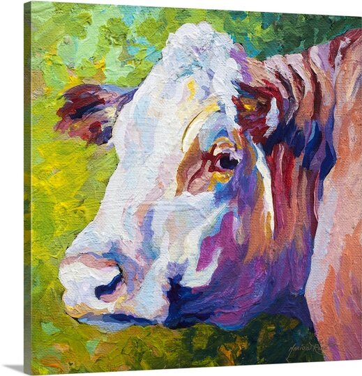 Cow Face Paint Repro SINGLE CANVAS WALL ARTWORK Print Art