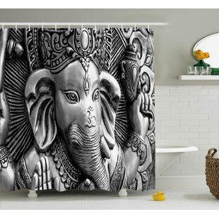 Jawhar Indian Elephant God Asian Religious Monument Cultural Picture Bohemian Style Art Print Single Shower Curtain