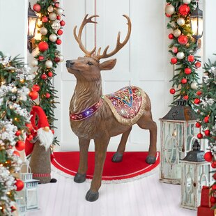 santas north pole illuminated reindeer statue