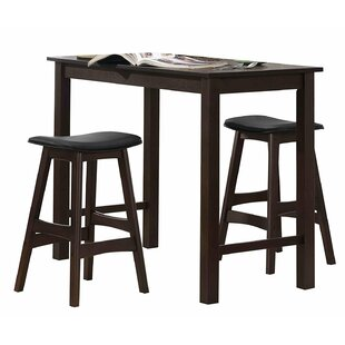 Ava 3 Piece Counter Height Solid Wood Dining Set by Winston Porter