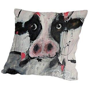 Cow Pink Throw Pillow
