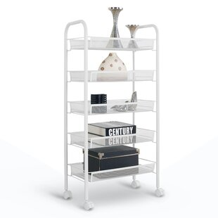 40 H X 17 7 W 5 Tier Metal Mesh Shelving Unit With Casters
