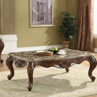 Ardelia Traditional Rectangular Marble and Wooden Coffee Table by Astoria Grand