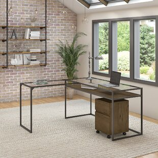 Alcantar Bush Furniture Anthropology Glass Desk, Desk Return and Filing Cabinet Set